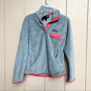 Patagonia snap t re-tool grey & neon pink pullover